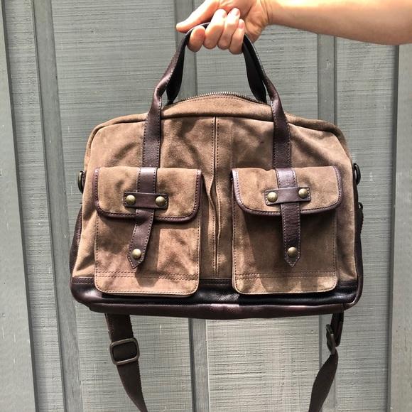 John Varvatos Other - John Varvatos suede & leather messenger bag (men)